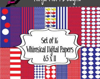 Whimsical Digital Papers- 16 Sheets- Instant Download