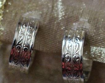 Vintage Silver Tone Engraved Details Loop Clip On Earrings