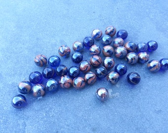 """SALE! Lot of 40 classic marbles - 16mm (0,63"""") -  glass blue brown"""