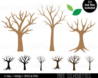 Tree Silhouette Clipart, Tree Clip Art, Trees Family Tree, Tree of Life - Commercial & Personal - BUY 2 GET 1 FREE!