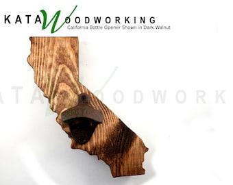 8 California Wood Cut-out Bottle Opener - Wall Mount - Handmade