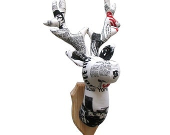 Textile deer trophy, trophy head with wooden wall plaque, cotton, medallion, handmade, newspaper, taxidermy, OOAK