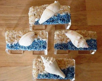 Beach Napkin Rings with White Seashells, Beach Sand and Ocean Waves Unique Exclusive Dining Home Decor from Crafts by the Sea