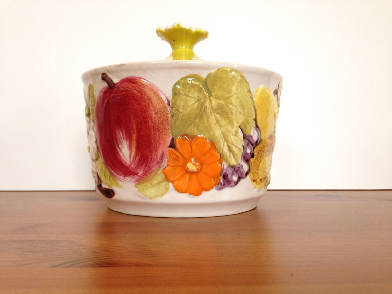 Vintage serving dish retro kitchen decor raised fruit and - Kitchen curtains with fruit design ...