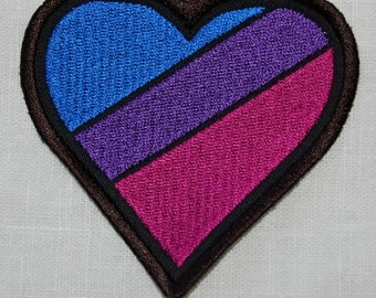 Bisexual Bi Pride Rainbow Flag Heart embroidered patch badge