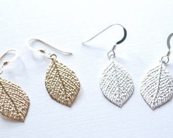 Gold Leaf Earrings - simple gold leaf earrings, gold flower earrings, simple dainty earrings by heirloomenvy