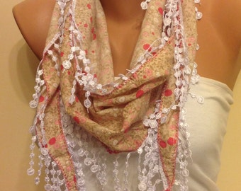 Beige Floral Scarf,Lace Scarf,Womens Fashion,Gift,Gift for Mother,Modern,Headband,Boho Accessory,Floral Scarf,Accessories, Mothers day gift
