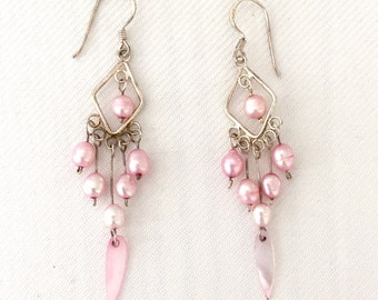 Vintage Sterling silver and Pink Pearl Dangle Earrings- Wedding- Bridal, Bride, -Mother of the Bride