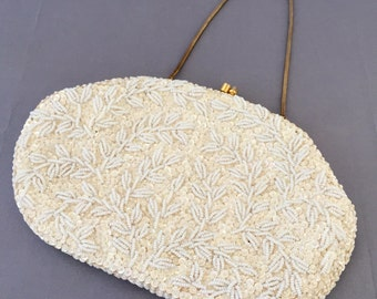 White Beaded Clutch,  Evening Bag, Wedding, Prom, Bride, Bridal, Engagement, Gift, Bridesmaid, Sequins Seed Beads Encrusted