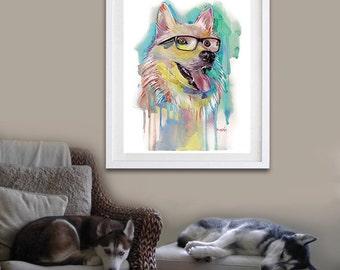 HUSKY Art Print - Dog Print - Dog Art Print - Fine Art Print - Pet Lover - GEEKERY Nerd Glasses