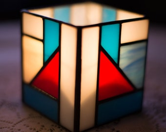Red White and Blue Stained Glass Candle Box