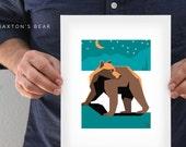 "Braxton's Bear Art Print - 8x10"" and 5.5x7.5"" - Quality Giclee Print For Child's Nursery - Kid's Bear Wall Art - Striking. Bold. Enchanting."