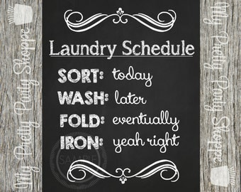8x10 Laundry Room Schedule Printable Wall Art Chalkboard Sign
