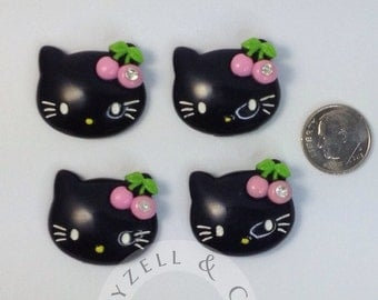 Black Hello Kitty Pink Cherry 10 pc set  appliques 1x1 inches
