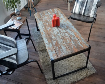 Weathered wood low table and seaside spirit metal