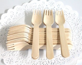 Heavy Weight 50 Disposable Wooden Forks