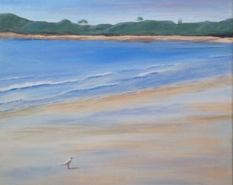 Seagull on Beach Painting, Calm Waters, Deserted Beach, Coastal,