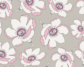 Crib/Toddler fitted bed sheet, Cherie, magnolias, floral, pink-grey