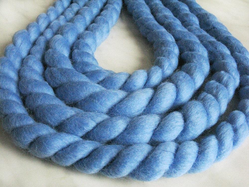 Mega Chunky Mega Bulky Merino Wool Yarn Jumbo Water Blue
