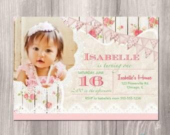 Shabby Chic Birthday Invitation, Tea Party birthday Invitation, First Birthday Invitation, Girls First Birthday Invitation, Printable Invite
