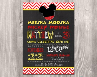 Mickey Mouse Invitation, Mickey Mouse Birthday Invitation, Mickey Invitation, Chalkboard Invitation, Printable Mickey Mouse Invitation