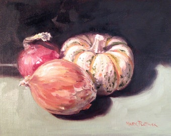 Oil Painting Still Life of Tiger Pumpkin and Onions by Mark Plettinck