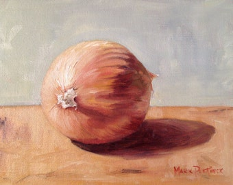 Oil Painting Still Life of a Yellow Onion by Mark Plettinck