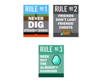 Three Rules of Mining - 3 Poster Print Set