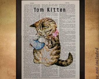 Beatrix Potter Tom Kitten Cat Dictionary Art Print Childrens Book Gift Ideas Nursery Art Boys Girls Room Decor da579