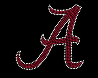 Rhinestone Transfer, University of Alabama Rhinestone Transfer, Crimson Tide, A, Roll Tide, Bama Bling, College Sports