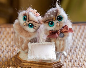 couple owls)made to order 2,5 weeks,11 cm tall.needle felted owls.