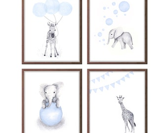 Animal Nursery Decor, Safari Nursery Art, Baby Boy Nursery Art, Blue and Gray, Art for Baby Boy, Wall Art, Set of 4 Prints - S4030W