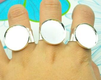 10PCS Silver Blanks  Adjustable Ring , Cabochon Ring, Bezel Ring, Large Tray Ring, 20mm Cabochon, Cabochon Setting.