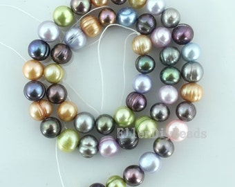 8-9mm Freshwater Natural Pearl Beads,Colourful Pearl Beads,Pearl Beads,One Full Strand,Gemstone Beads-51pcs-15 inches-BP029
