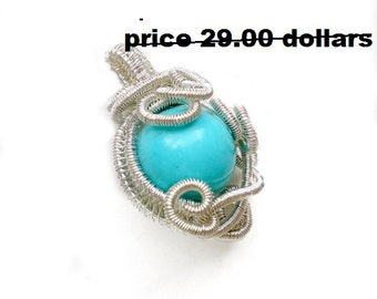 Wire wrapped pendant, blue turquoise, wire wrapped jewelry handmade, Weave Pendant, silver plated, wire jewelry, boho jewelry, SALE30%OFF
