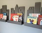 Cityscape Book Shelf- Set of 3, Superhero Decor, Bookshelf