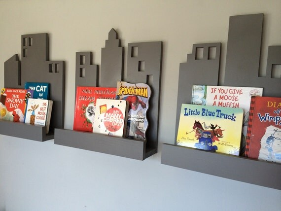 Cityscape Book Shelf Set Of 3 Superhero Decor Bookshelf