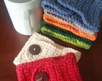 Cotton Mug Cozy - Cup Cozy - Set of 2 - 20 Colors