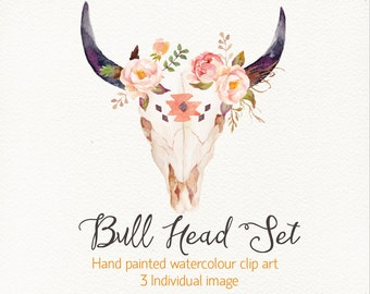 Bull head set / ethnic style /individual PNG files
