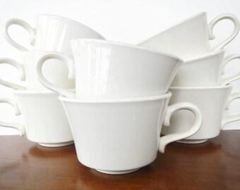 Vintage Restaurant Ware Coffee Cups - set of 8, cream, ivory, off-white color - 1960s - mug, kitchenware, hotel, diner, versatile,restaurant