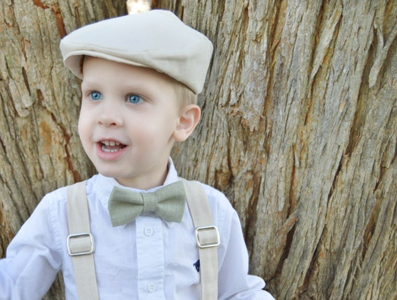 Ivory Hat , Suspenders and Green Bow Tie ; Boy Green Bow Tie ; Green Wedding Bow Tie ; Ring Bearer Outfit
