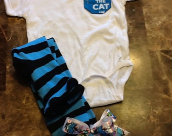 Cat in the hat onesie outfit