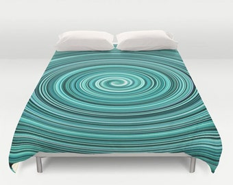 Turquoise Duvet Cover-Teal Duvet Cover-Modern Bedding-Microfiber Duvet-Twin Duvet-Full Duvet-Queen Duvet-King Duvet-Teen Bedding-Aqua White