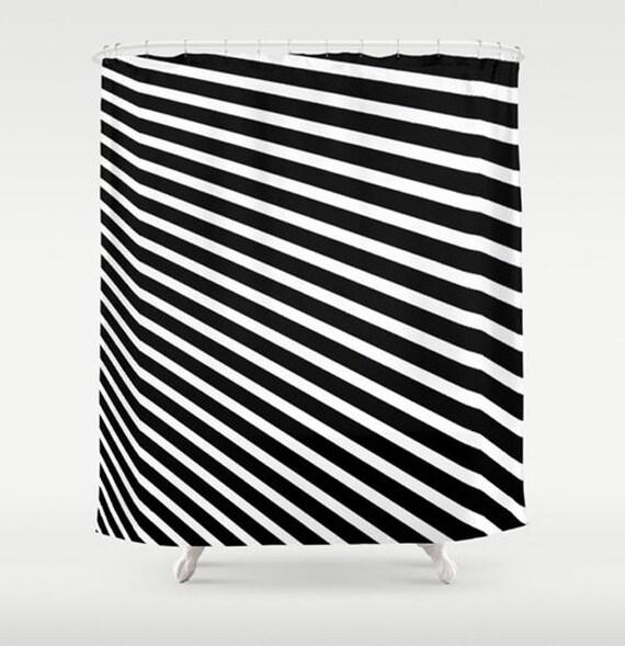 Items Similar To Modern Fabric Shower Curtain Black White Stripes Bold Bathroom Decor