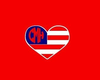 American Flag Heart Monogram shirt