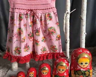 Dress for girl 2 years/18 months crochet and fabric pure cotton vintage pink floral patterned in hand made