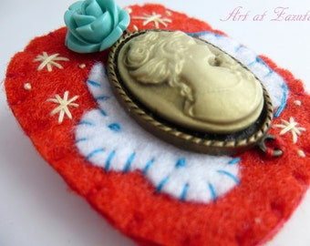 Cameo brooch red, cameo brooch Victorian, cameo brooch, victorian brooch, Felt cameo brooch, colourful brooch, choker fastner, handbag decor