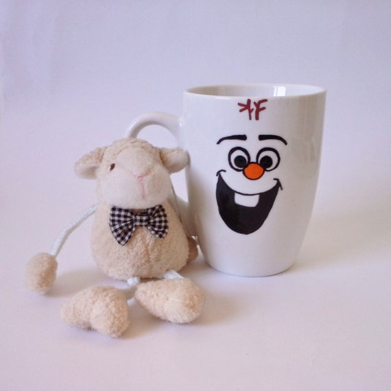 "Cup - Hand painted White Ceramic Mug, ""Olaf - Frozen"""
