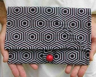 Gray and black Clutch purse, retro clutch, gray hexagon Purse, grey clutch, black red clutch, hexagon purse, geometric clutch, upcycled bag