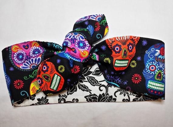 Sugar Skulls Headwrap Skull Knot Headband Rockabilly Dolly